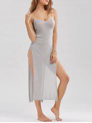 Sheer High Slit Knitted Midi Dress - LIGHT GRAY