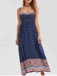 Casual Print Shirred Long Summer Slip Dress - PURPLISH BLUE