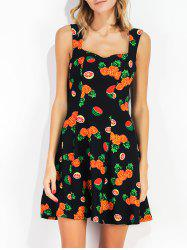 Fruit Print Sleeveless Sundress - BLACK