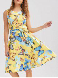 Butterfly Print Belted Sleeveless Dress - YELLOW