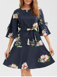 Flare Sleeve Floral Drop Waist Dress