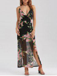 High Slit Floral Chiffon Maxi Dress - BLACK
