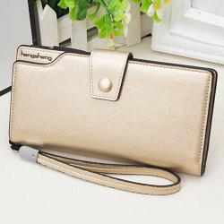 Faux Leather Organizer Clutch Wallet - GOLDEN