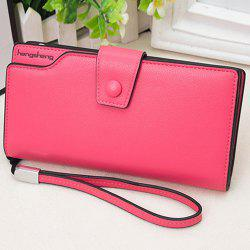 Faux Leather Organizer Clutch Wallet - rose