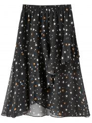 Plus Size Star Print Chiffon Midi Skirt -