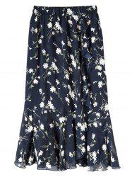 Plus Size Floral Chiffon Maxi Skirt - PURPLISH BLUE