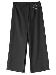Plus Size Capri Wide Leg Pants - BLACK