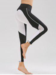 Mesh Panel Two Tone Workout Leggings - BLACK