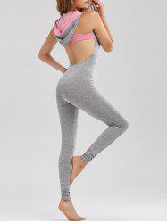 Graphic Backless Hooded Sleeveless Jumpsuit Leggings - GRAY