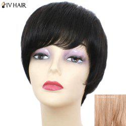 Siv Hair Short Inclined Bang Glossy Straight Human Hair Wig