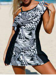 Detachable One Shoulder Skirted One-Piece Swimsuit with Ruffles