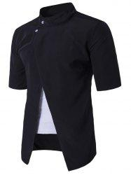 Faux Twinset Panel Stand Collar Short Sleeve Shirt