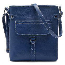Faux Leather Stitching Crossbody Bag - BLUE
