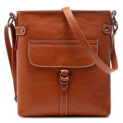 Faux Leather Stitching Crossbody Bag - EARTHY