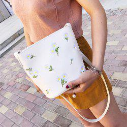 Flower Embroidered PU Leather Crossbody Bag