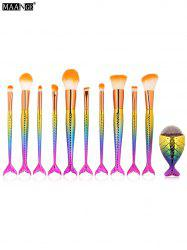 MAANGE 10Pcs Mermaid Tail Makeup Brushes with Chunky Foundation Brush