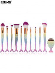 MAANGE 11Pcs Mermaid Tail Makeup Brushes with Chunky Foundation Brush - SHALLOW PINK