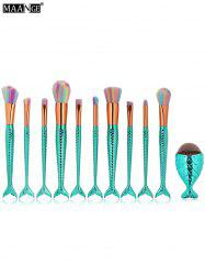 MAANGE 11Pcs Mermaid Tail Makeup Brushes with Chunky Foundation Brush