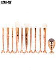 MAANGE 11Pcs Mermaid Tail Makeup Brushes with Chunky Foundation Brush - ROSE GOLD