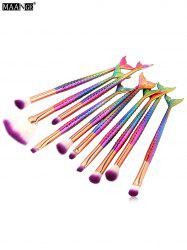 MAANGE 10Pcs Mermaid Handle Eye Makeup Brushes Kit - DEEP PINK