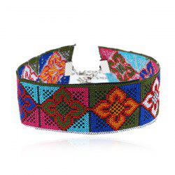 Flower Geometric Embroidery Choker Necklace