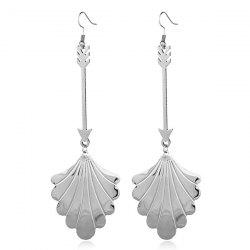 Metal Leaf Cupid Love Arrow Drop Earrings