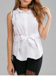 Button Up Sleeveless Shirt with Belt