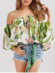 Ruffle Off Shoulder Floral Chiffon Blouse - GREEN