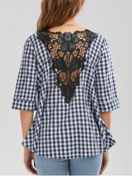 Plaid Lace Insert V Neck  Blouse