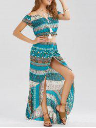 Tribal Print Slit Two Piece Flowy Beach Dress - GREEN