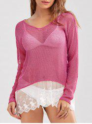 Crochet See-Through High Low Tunic Cover-Up