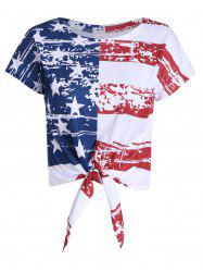 Distressed American Flag Tie Front Crop Top