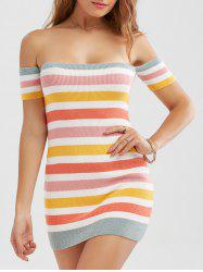 Knitted Colorful Striped Off The Shoulder Dress - COLORMIX