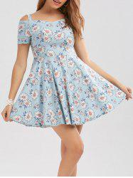 High Waisted Floral Print Cold Shoulder Dress