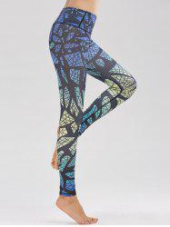 Skinny High Waist Pattern Funky Gym Leggings - BLUE