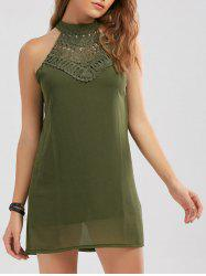 Crochet Lace Panel Cut Out Sleeveless Dress - ARMY GREEN