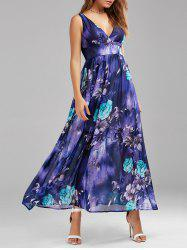 Ankle Length Maxi Floral Swing Empire Waist Dress - COLORMIX