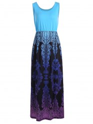 Baroque Print High Waist Sleeveless Maxi Dress
