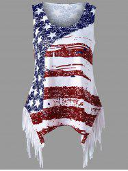 Fringe American Flag Tank Top - Clairet XL