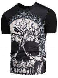 3D Skull Branch Printed Round Neck T-shirt - BLACK