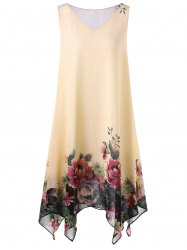 Plus Size Floral Sleeveless Handkerchief Dress - APRICOT