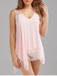 Sheer Dot Sleeveless Handkerchief Blouse