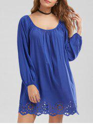 Lantern Sleeve Openwork Scalloped Edge Dress