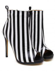 Peep Toe Striped Ankle Boots - BLACK STRIPE