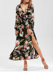 Long Sleeve Slit Floral Maxi Dress