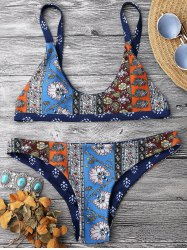 Patchwork Print Scoop Neck Bikini Set