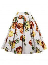 Pineapple Print High Waisted Pleated Skirt - WHITE L