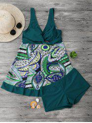 Printed Plus Size Padded Tankini Top with Boxers -