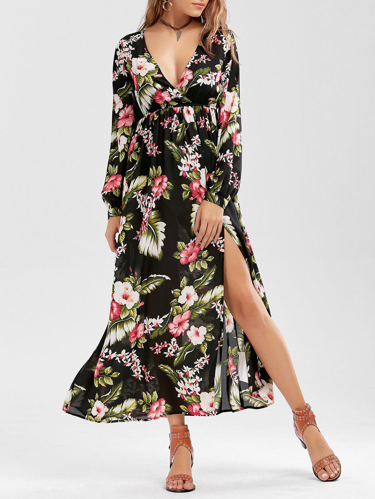 Discount Long Sleeve Slit Floral Maxi Dress