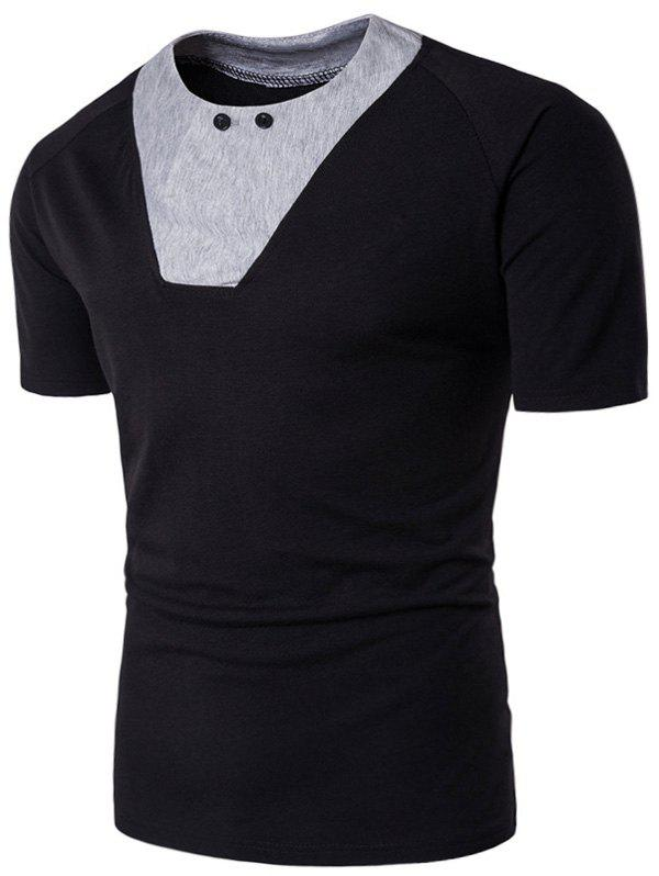 Unique Raglan Sleeve Color Block Panel Button T-shirt